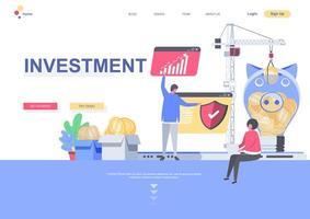 modello di pagina di destinazione degli investimenti vettore