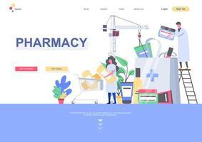 modello di pagina di destinazione della farmacia vettore