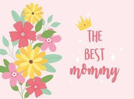 biglietto di auguri per la festa della mamma e fiori vettore