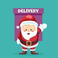 Babbo Natale che effettua la consegna vettore
