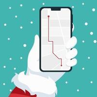 design del telefono cellulare in mano a Babbo Natale vettore