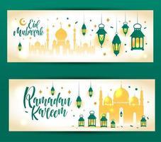 banner islamico di ramadan kareem con moschea vettore