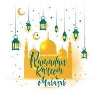 illustrazione islamica di ramadan kareem con lanterna carina 3d vettore