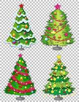 set di albero di Natale su sfondo trasparente vettore