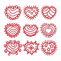 set di cuori rossi amore vettore