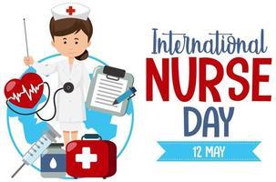 logo della giornata internazionale dell'infermiera con infermiera carina ed elementi medici vettore