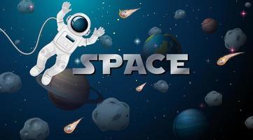 astronauta nella scena spaziale vettore