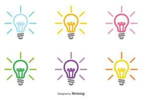 Insieme di vettore dell'icona di lampadina colorata