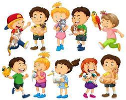 gruppo di bambini piccoli personaggio dei cartoni animati su sfondo bianco vettore