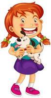 cucciolo felice della holding della ragazza vettore