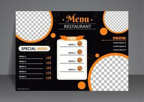 menu moderno per ristorante vettore