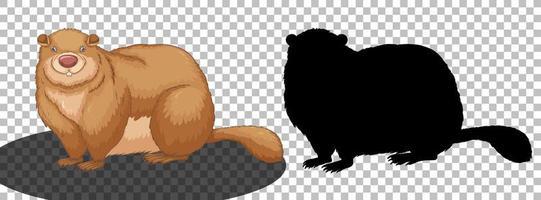 personaggio dei cartoni animati di marmotta con la sua silhouette vettore