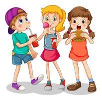 gruppo di bambini che mangiano fast food