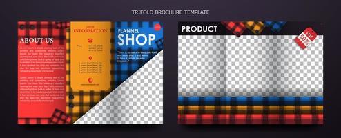 modello di brochure a tre ante per negozio di flanella vettore
