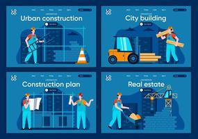 costruzione della città, set di pagine di destinazione piatte vettore