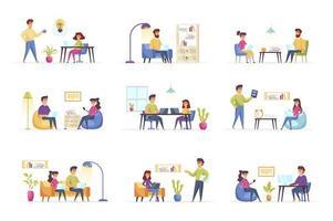 scene di lavoro freelance in bundle con le persone