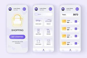 shopping online, kit di design neomorfico unico vettore