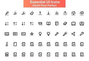 Set di icone dell'interfaccia utente, griglia 24x24