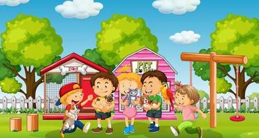 bambini con il loro animale domestico in cortile