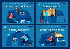 lavoro in outsourcing, set di pagine di destinazione piatte