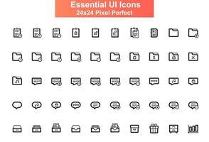 Set di icone dell'interfaccia utente, griglia 24x24 vettore
