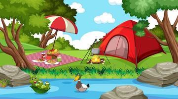 campeggio o picnic nel parco naturale durante il giorno vettore