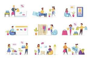 scene di shopping in bundle con personaggi di persone