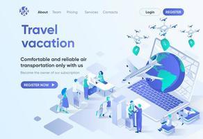 vacanza di viaggio, pagina di destinazione isometrica vettore