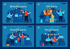 festa a sorpresa, set di pagine di destinazione piatte