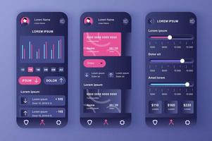 smart banking, kit di design neomorfico unico vettore