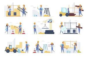 le scene dei costruttori si uniscono ai personaggi delle persone vettore