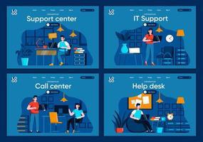 servizio di supporto, set di pagine di destinazione piatte