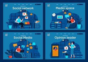 social media, set di pagine di destinazione piatte