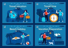 vacanza di viaggio, set di pagine di destinazione piatte