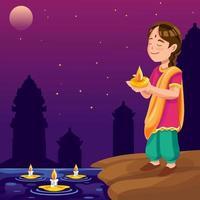 una ragazza celebra la notte di diwali vettore
