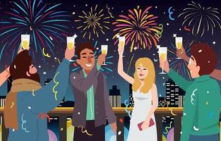 persone che celebrano un evento di festa all'illustrazione del tetto all'aperto vettore