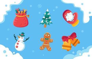 pacchetto di icone freddo di Natale vettore