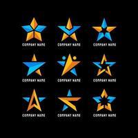 accattivante stella gialla e blu vettore