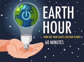 poster o banner della campagna dell'ora della terra spegni le luci per il nostro pianeta per 60 minuti