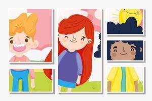 ragazzini e personaggi dei cartoni animati di ragazza vettore