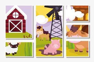 carte di simpatici animali da fattoria vettore