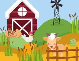 simpatici animali in una fattoria vettore