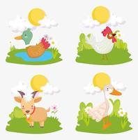 set di simpatici animali da fattoria vettore