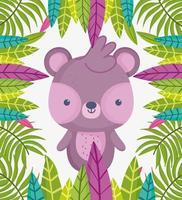 piccolo orso foglie fogliame natura vettore