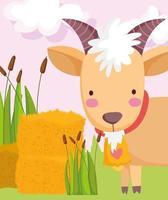 capra carina con campana, animali da fattoria vettore