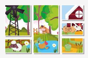 carte di simpatici animali da fattoria