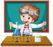 scienziato che lavora con strumenti scientifici in laboratorio vettore