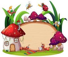 disegno del modello di confine con insetti sullo sfondo del giardino