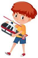 Ragazzo che tiene il personaggio dei cartoni animati di giocattolo elicottero isolato su sfondo bianco