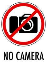 nessun segno di fotocamera isolato su sfondo bianco
